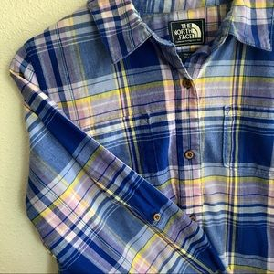 The North Face Tops - The North Face blue pink button down shirt L